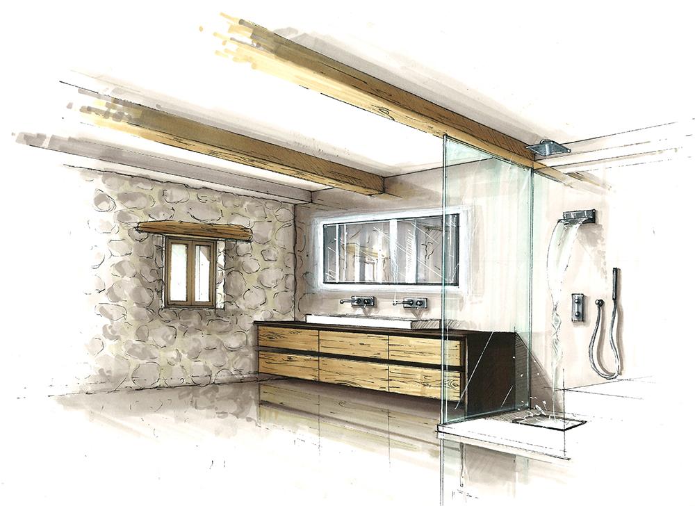 projet-architecture-interieure-decoration-bain-douche-dessin