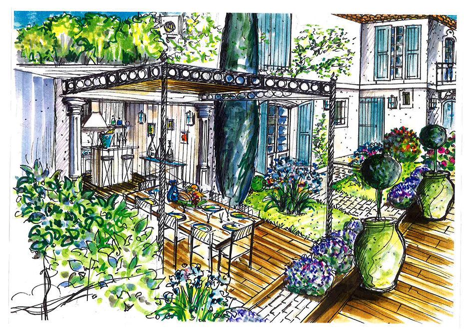 projet-architecture-paysagisme-cuisine-ete-dessin