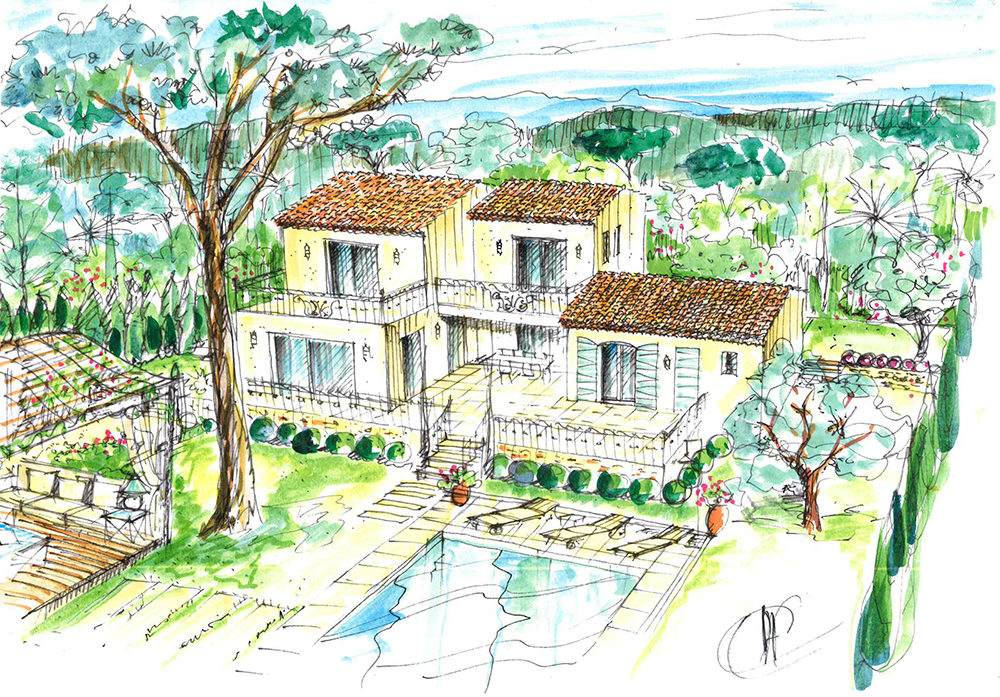 projet-architecture-paysagisme-villa-dessin