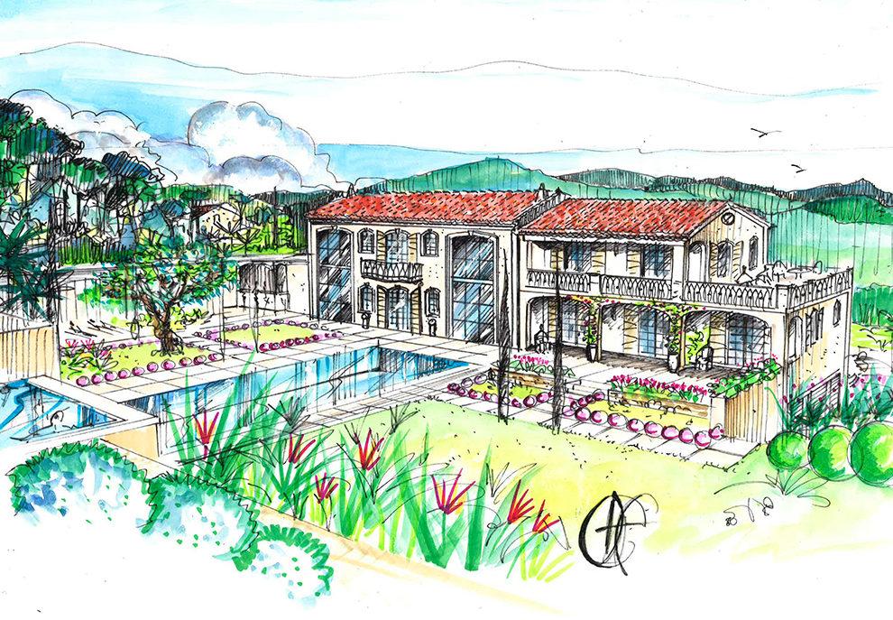 projet-architecture-villa-parc-dessin